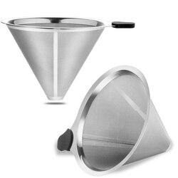 Filtros de café para derramar sobre metal café dripper reutilizável cone filtros carafas e outras máquinas de café