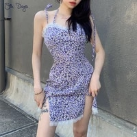 purple printed wrap skirt sexy lace v neck women suspender dress floral slim summer girl casual party dresses female miniskirt