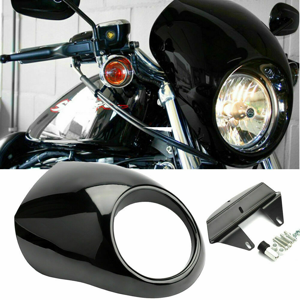 motorcycle headlight fairing windshield w bracket kit for harley iron 883 sportster 1200 roadster seventy two nightster 1986 18 (Ship From EU) Motorcycle Black Headlight Fairing Cowl Visor Mask Cover For Harley 883 1200 Front Fork Mount Dyna Sportster XLCH