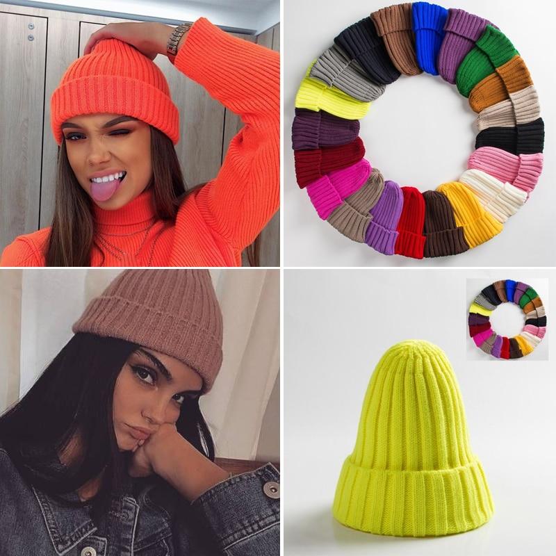 Шапка унисекс из смеси хлопка, однотонные теплые мягкие вязаные шапки в стиле хип-хоп, мужские зимние шапки, женские шапочки, облегающие шап...