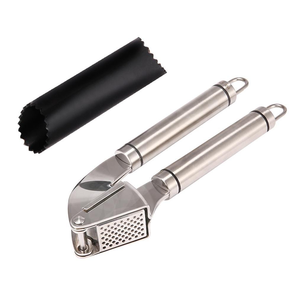 304 de aço inoxidável lidar com grillers epicurean alho imprensa e descascador conjunto picador e tubo de silicone rolo para descascar pele cravo