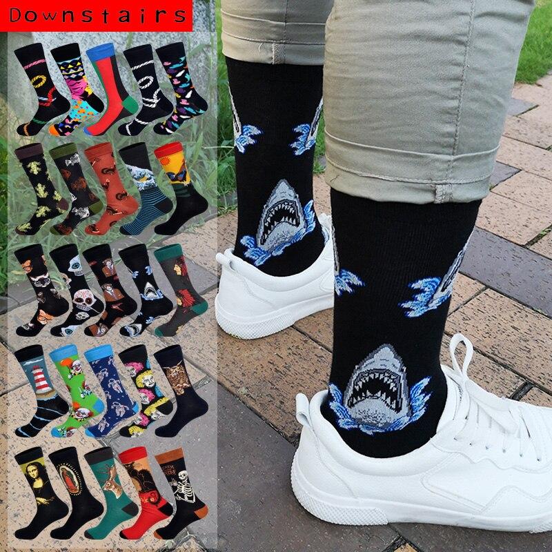 Ropa de calle para abajo, calcetines alegres para hombre estilo Hip Hop Shark Einstein Jesús 25 colores arte Harajuku, calcetines de algodón de diseñador para hombres