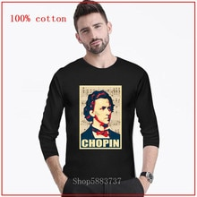 Art Chopin musique compositeur affiche longue T-shirt Piano mélomanes T-shirt polonais poète pologne musicien génie Portrait homme T-shirt