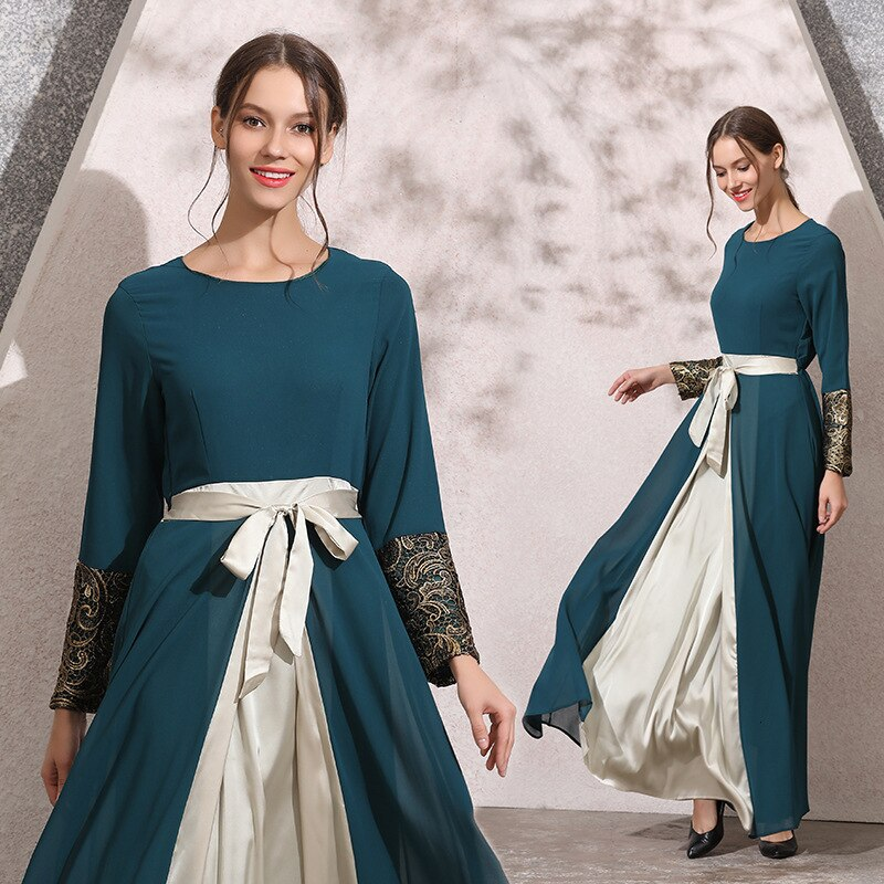 Saias muçulmanas robe indonésia roupas mulher chiffon multi-camada vestido de duas cores longuette arco cinto malásia vestido islâmico