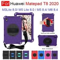 for huawei matepad t8 mediapad m3 m5 lite 8 0 m6 8 4 eva kids safe shockproof 360 rotate hand shoulder strap stand tablet case