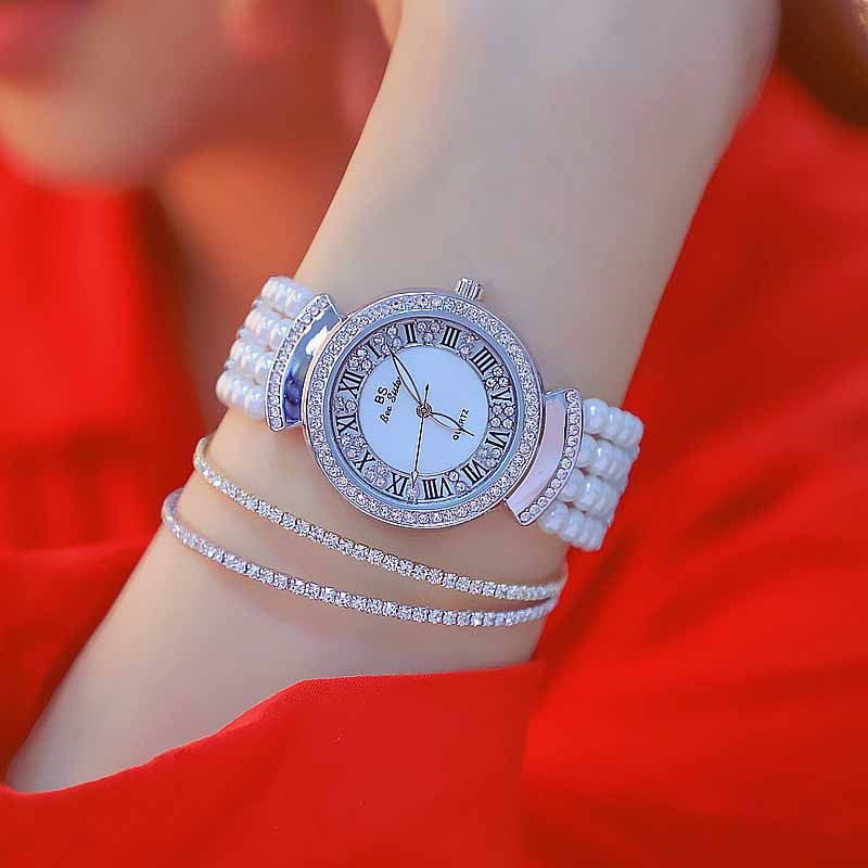 relojes para mujer 2019 Hot Sale Fashion Quartz Watches High Quality Roman Numerals Dial Pearl Chain relojes para hombre enlarge