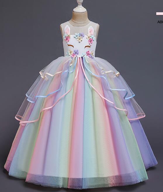 Disfraz de Unicornio para niñas, Disfraz de Unicornio con diadema de flores, tutú, para cumpleaños, boda y fiesta