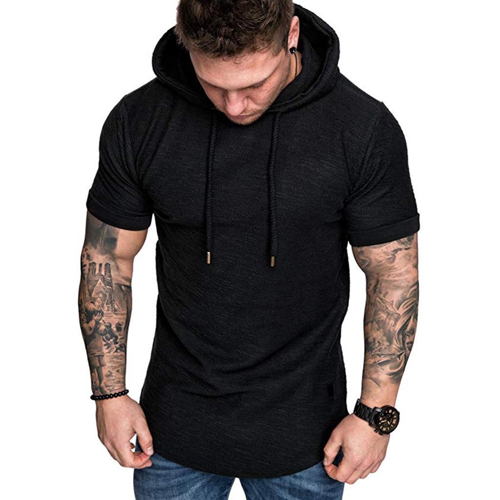 MRMT 2021 Brand New Mens Hoodies Sweatshirts Short Sleeve Men Hoodies Sweatshirt Casual Solid Color