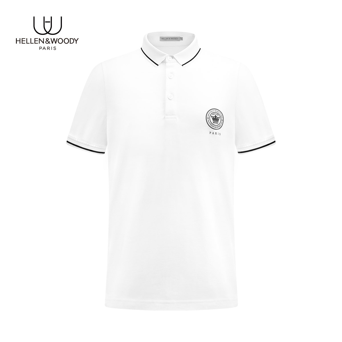 HELLEN&WOODY Luxury Mens Casual Slim-fit Polo Shirts Summer Fashion Print Square Neck Clothing