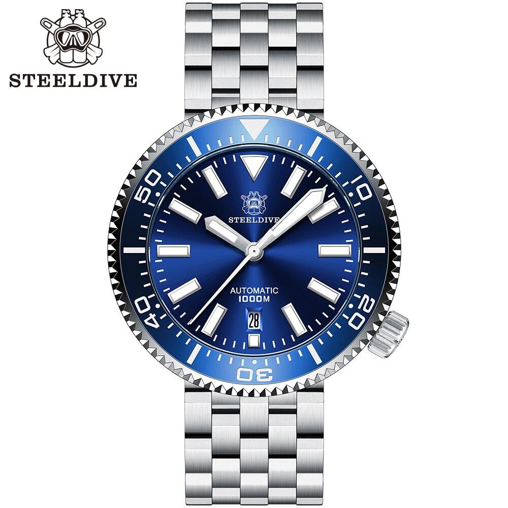 ساعة يد كبيرة SD1976 steelالغوص اليابان NH35 BGW9 فائقة الأزرق مضيئة سيراميك الحافة 1000 متر مقاوم للماء 316L للرجال ساعة غوص