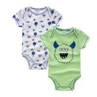 cartoon baby bodysuit infant jumpsuit overall short sleeve body suit baby clothing 2pcs set summer cotton devil romper outwear