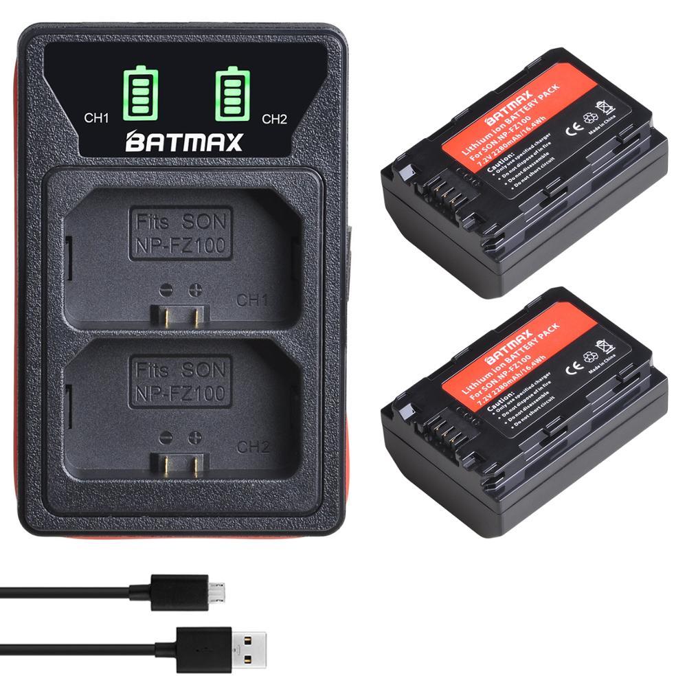 2X 2280mAh NP-FZ100 NPFZ100 NP FZ100 Li-Ion Batterie + LED Gebaut-in USB Ladegerät Typ C für Sony a6600, a9, a7R III, a7 III