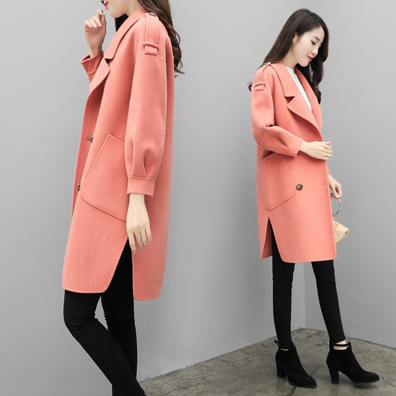 Осенне-зимнее новое женское длинное шерстяное пальто зеленое армейское шерстяное пальто женское длинное пальто в Корейском стиле модное п...