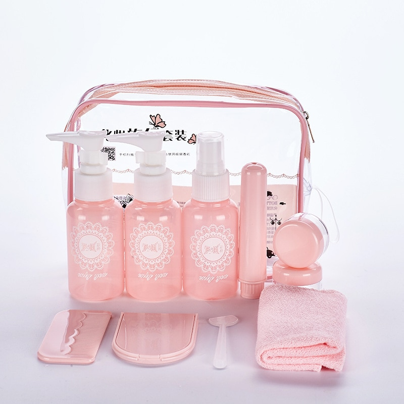 refillable bottles travel face cream lotion cosmetic container plastic empty makeup container jar pot Portable Travel Bottles Set Plastic Lotion Cosmetic Container Face Cream Jar Spray Bottle Refillable Dispensing Tool Makeup Bag