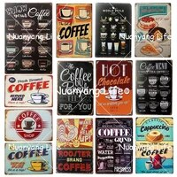 vintage shabby chic coffee menu home bar cafe metal tin signs pub tavern retro decorative plate poster wall decor