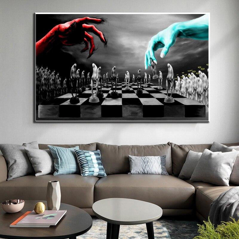 Arte abstrata luta céu e inferno pintura da lona arte da parede posters e impressões fotos para sala de estar em casa cuadros