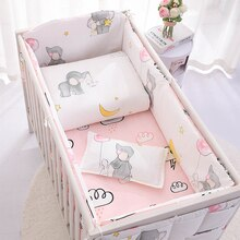 Baby Bedding Set 100%Cotton Cartoon Crib Bed Bumper Newborns Sheet Duvet Cover Child Bed Protector Baby Washable Cot Bedding Set