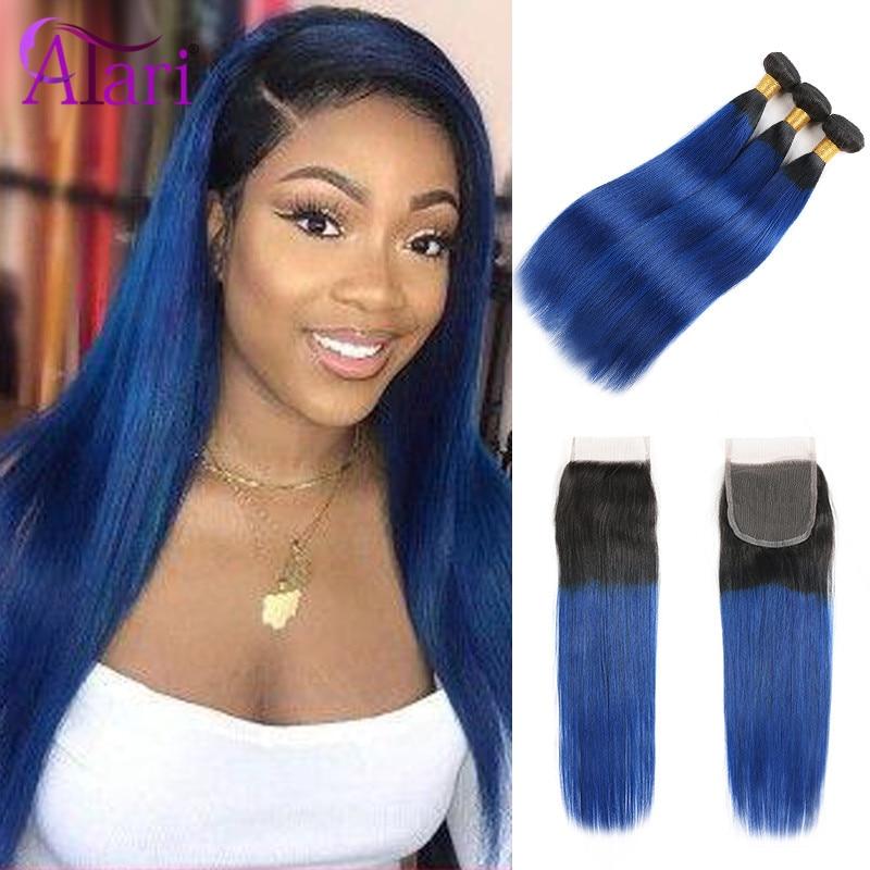 وصلات شعر برازيلية طبيعية ، مجموعة من 3 خيوط مع إغلاق ، شعر بشري بكر مستقيم 100% ، 1B/أزرق