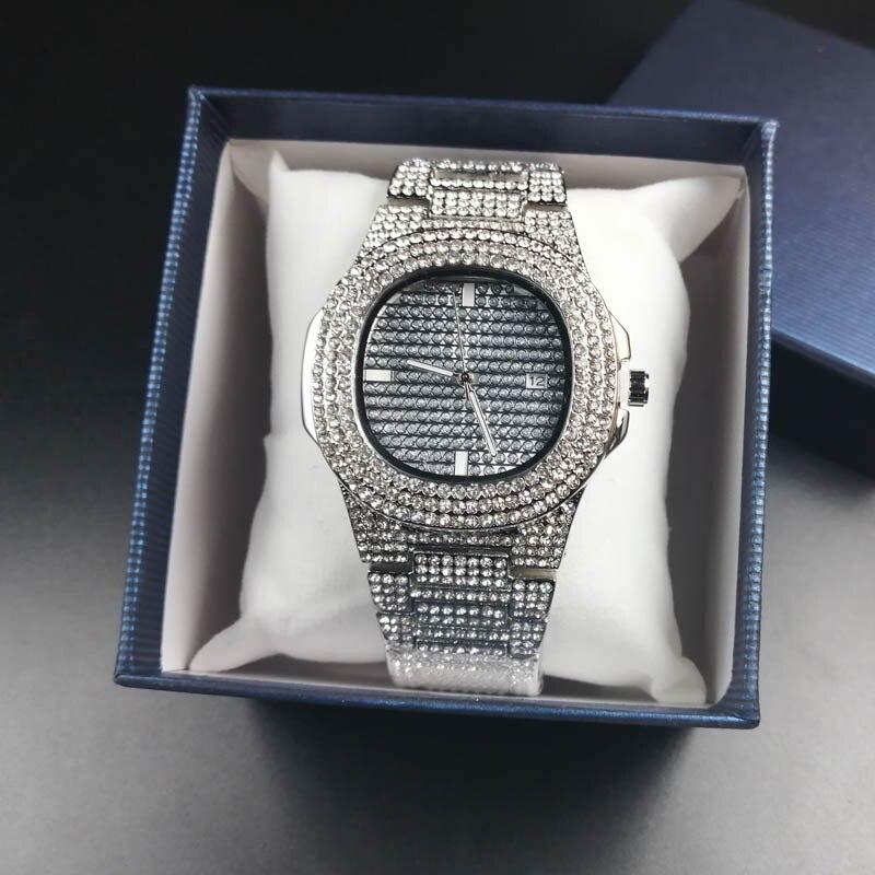 Relojes de moda para hombre, reloj de cuarzo con fecha automática de diamante, relojes de hombre de acero inoxidable Hip Hop, relojes de marca superior de lujo