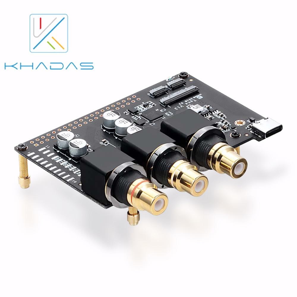 2019 new xmos xu208 usb digital interface support dsd512 pcm768k Внешняя звуковая карта Khadas ES9038Q2M XMOS XU208, тональная плата и чехол, Hi-Res аудио, USB DAC на основе чипа, 32-битная, со входом S/PDIF
