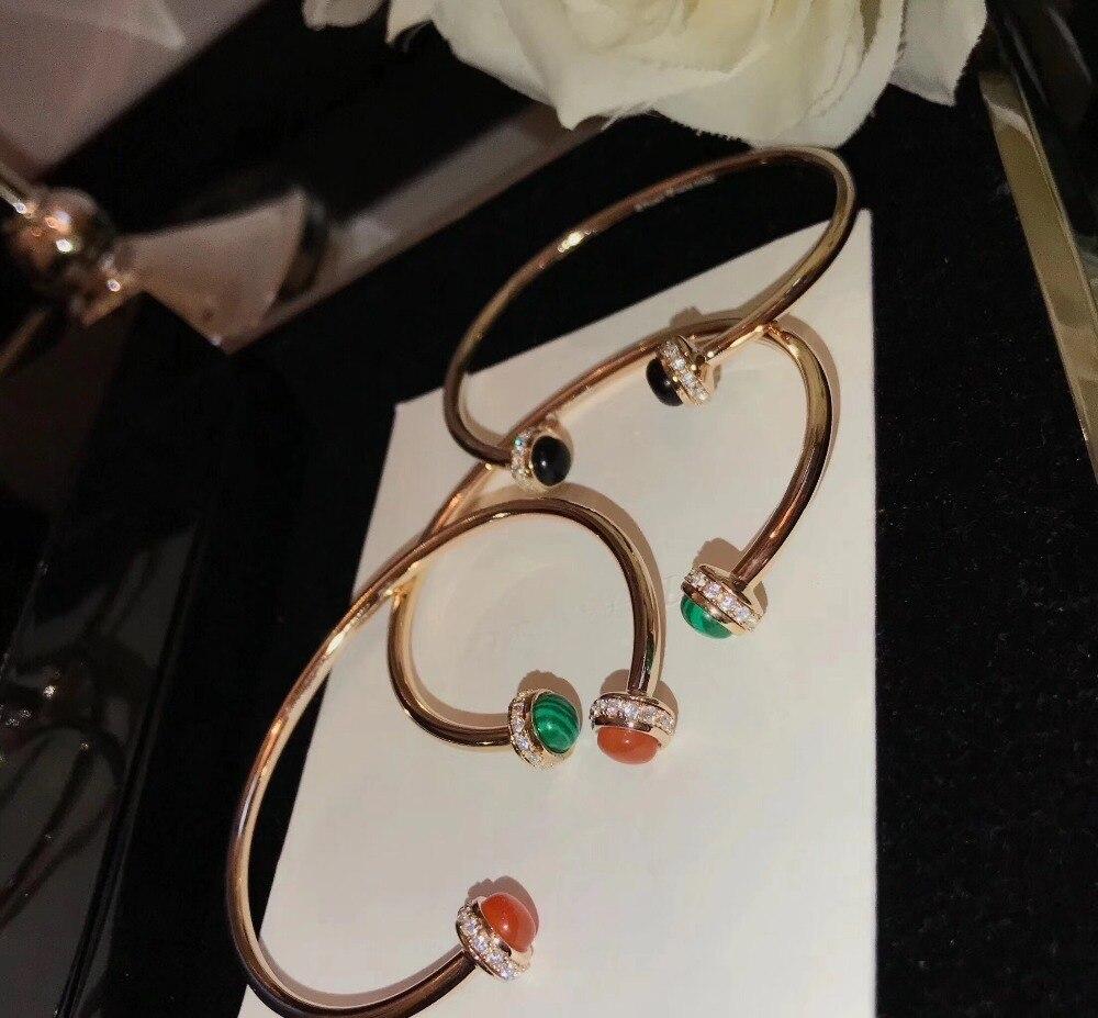 Nueva joyería de plata de ley 925 pura de Marca novedosa para mujer, brazalete giratorio con bola, brazalete de cuentas, joyería de boda, pulsera de oro rosa abierta