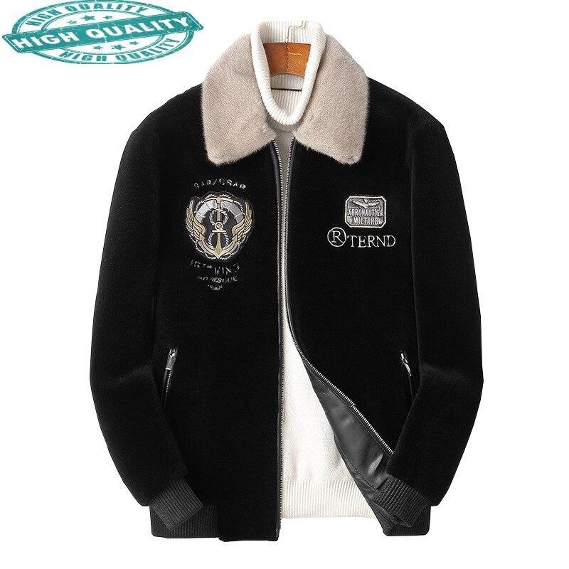 100% الشتاء الحقيقي الأغنام القص معطف فرو منك طوق جاكيتات للرجال الصوف الأسود سترات Casaco Masculino Gxy262