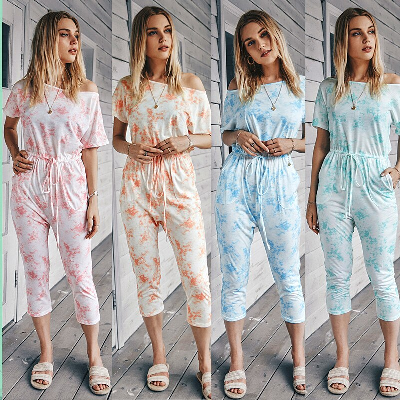 Women's Overalls Summer Knitted  Casual Pants Temperament Commuter Trend Sexy One-word Neck Tie-dye Printing Plus Size Overalls