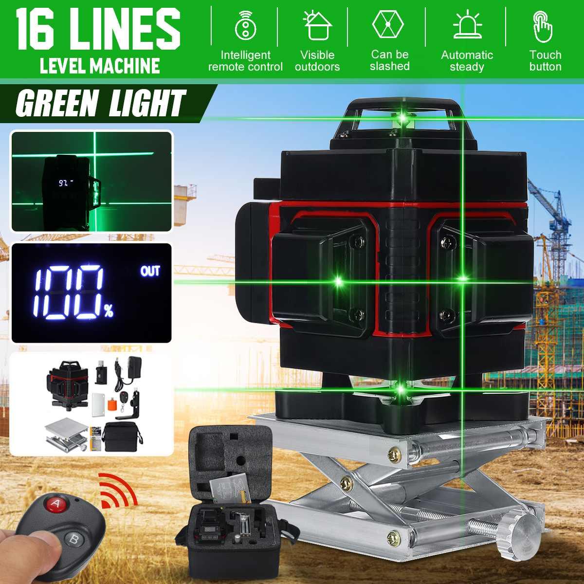 ZEAST 16 خطوط مستويات الليزر قوية شعاع أخضر ضوء 4D الذاتي التسوية 360 مستوى أفقي و ليزر عمودي