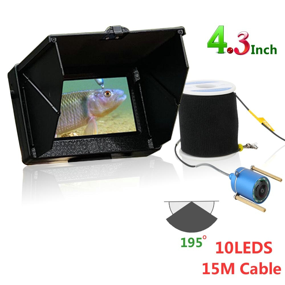 15m 30M 1200TVL poisson Finder caméra de pêche sous-marine 4.3 pouces moniteur 10 pièces LED Vision nocturne 195 degrés caméra pour la pêche