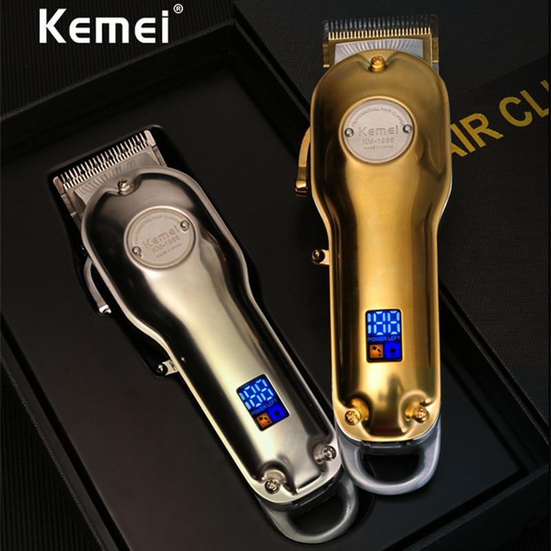 Kemei 1986 Professional Electric All Metal Hair Clipper LCD Digital Cordless Hair Trimmer Men Silver Gold Haircut Machine Barber
