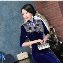 Chinese Dresses Women Luxury Qipao Dress Novelty Mandarin Collar Sexy Cheongsam Evening Gown Handmade Beads Vintage Vestidos