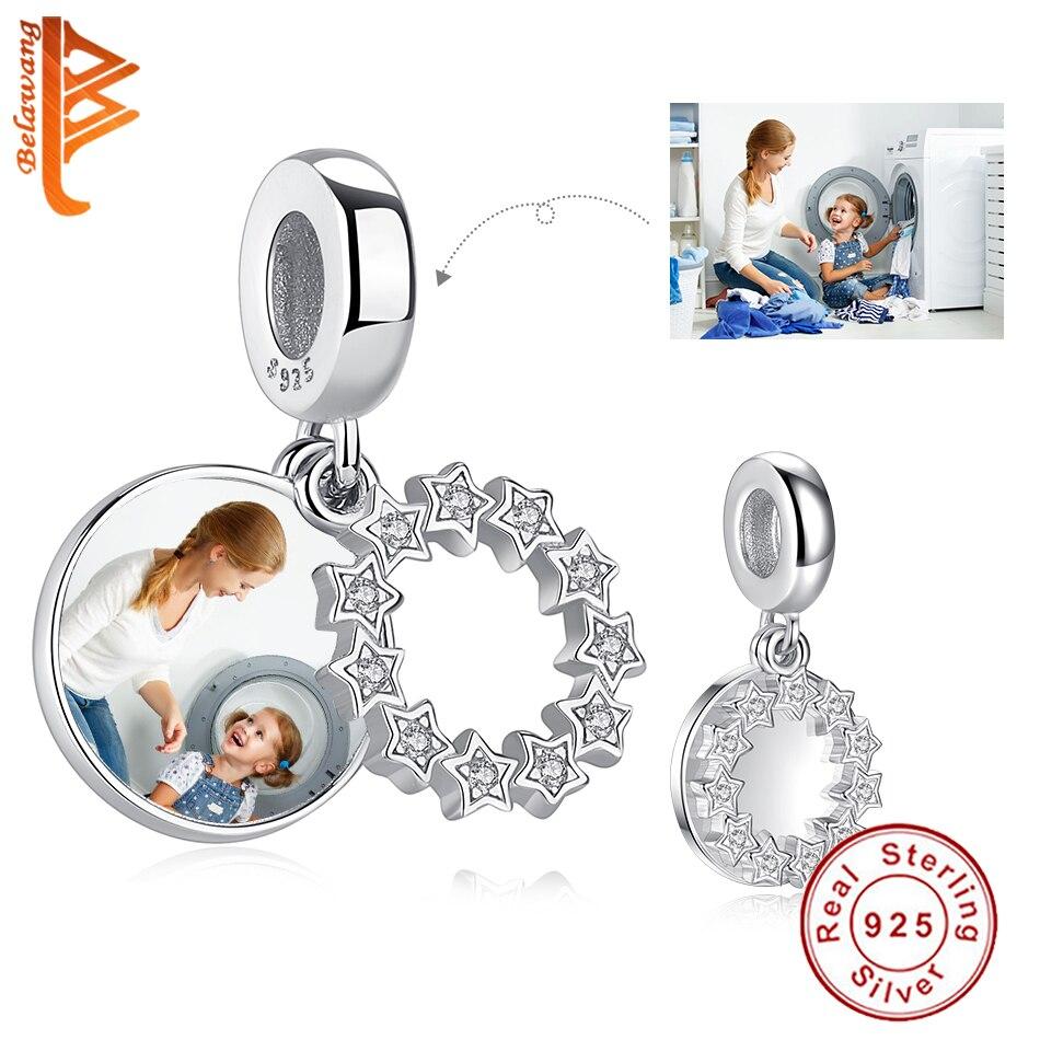 BELAWANG Real 925 Sterling Sliver Round Crystal Star Charms Fit Original Bracelet Custom Photo DIY Beads