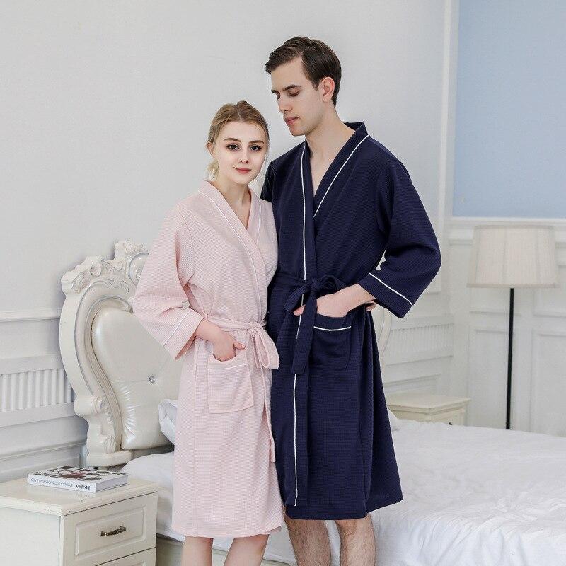 Albornoces de verano con diseño de gofre para parejas, camisones tipo Kimono con agua para hombre y mujer, bata de baño de Spa de talla grande 3XL