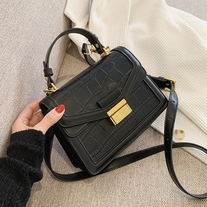 Stone Pattern Small PU bag Leather Vintage Square bag Crossbody Bags for Women 2021 Trend Handbag Women's Branded Shoulder Totes