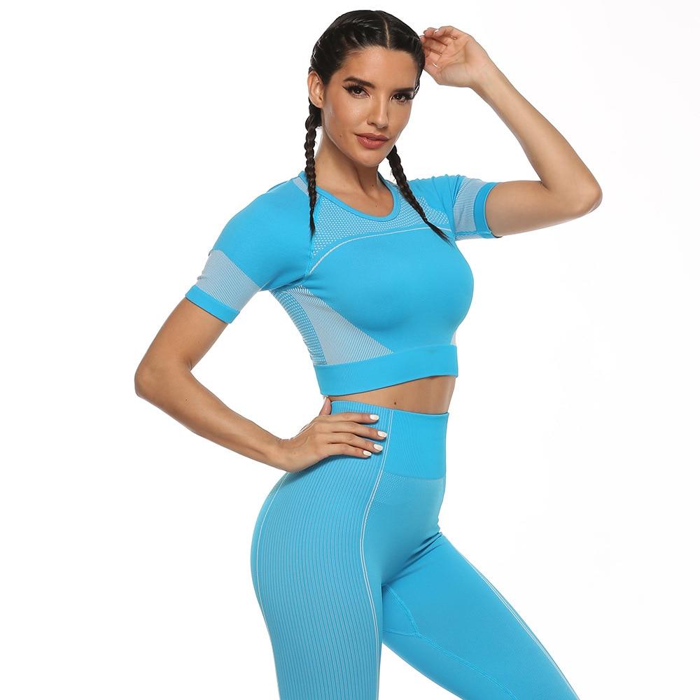 Conjunto de traje deportivo para mujer, ropa de entrenamiento para gimnasio, ropa de manga corta para Fitness, Top corto, cintura alta, Leggings sin costura, pantalones para Yoga Zaful