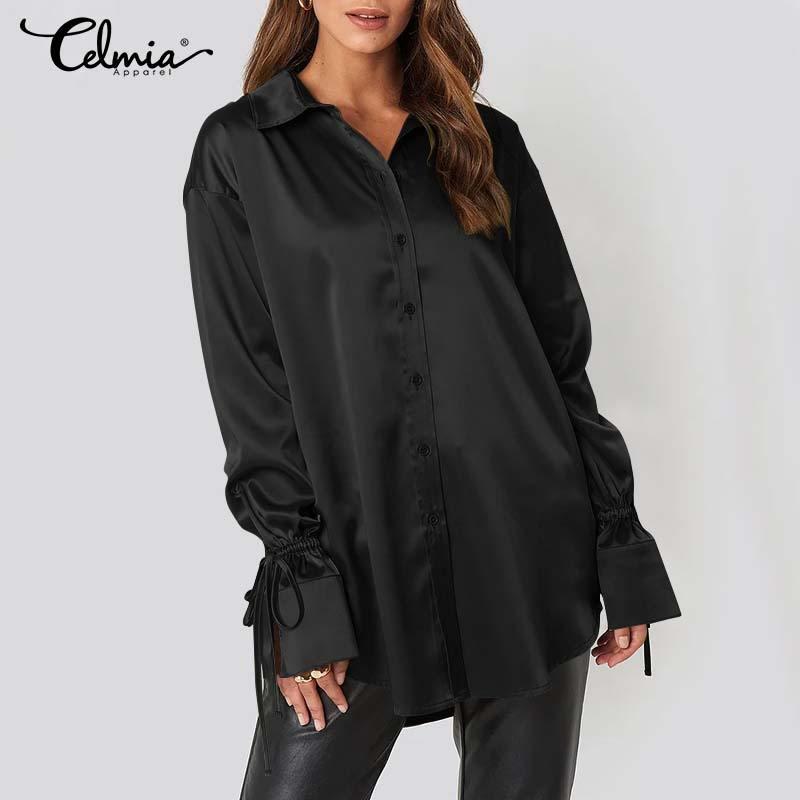2021 Women Fashion OL Satin Silk Shirts Celmia Long Flare Sleeve Turn-down Collar Tops Elegant Office Casual Blusas Femininas