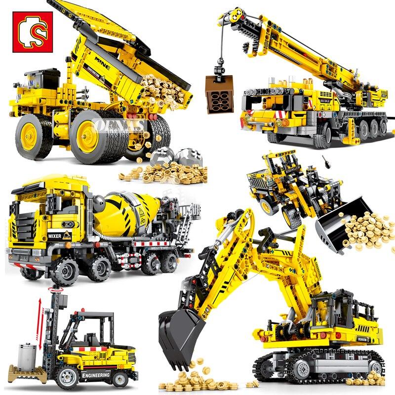 Sembo técnica técnica cidade engenharia empilhadeira guindaste escavadeira misturador caminhão veículo moc modelo blocos de construção brinquedos meninos presentes