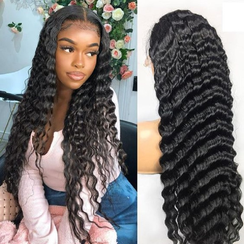 Queenlife 13x6 Loose Deep Wave Lace Front Wig 250 Density 16-32 Inch Lace Closure Wig 4x4 5x5 6x6 Brazilian Remy Human Hair Wig
