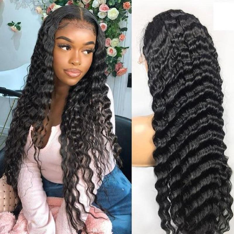 Queenlife 13x6 فضفاض موجة عميقة الدانتيل شعر مستعار أمامي 250 الكثافة 16-32 بوصة الدانتيل إغلاق شعر مستعار 4x4 5x5 6x6 البرازيلي ريمي باروكة من شعر طبيعي