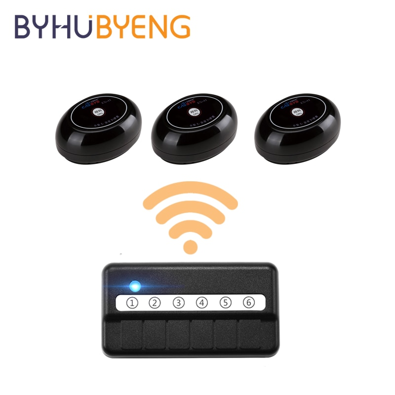 BYHUBYENG Office Wireless Number Display Calling System Call Oproepsysteem Pager Sistema De Chamadas Panic Button Botoeira