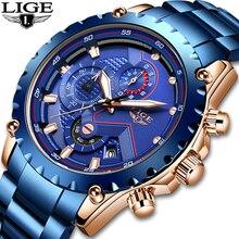 Nuevos Relojes LIGE para Hombre, reloj impermeable de acero inoxidable, reloj de cuarzo deportivo de moda para Hombre, reloj de fecha de negocios, Relojes para Hombre + caja