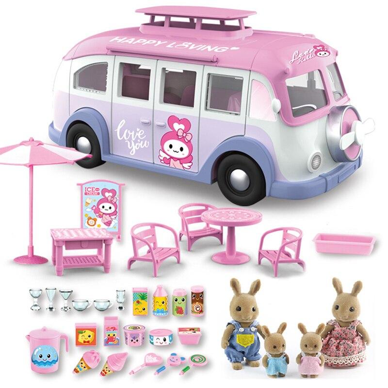 سيارة مخيمات الاطفال نزهة الآيس كريم RV مجموعة 1:12 الغابات الحيوان الأسرة دمى المظلة الجدول كرسي ملصقات دعوى الوردي ألعاب أطفال