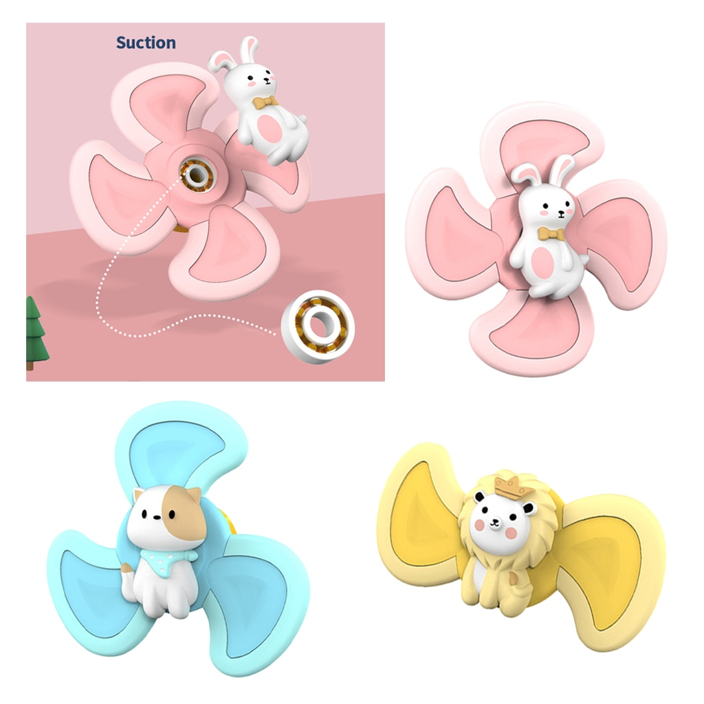 3pcs Bath Suction Cup Spinning Tops Toy Animal Spinning Windmill for Kids enlarge