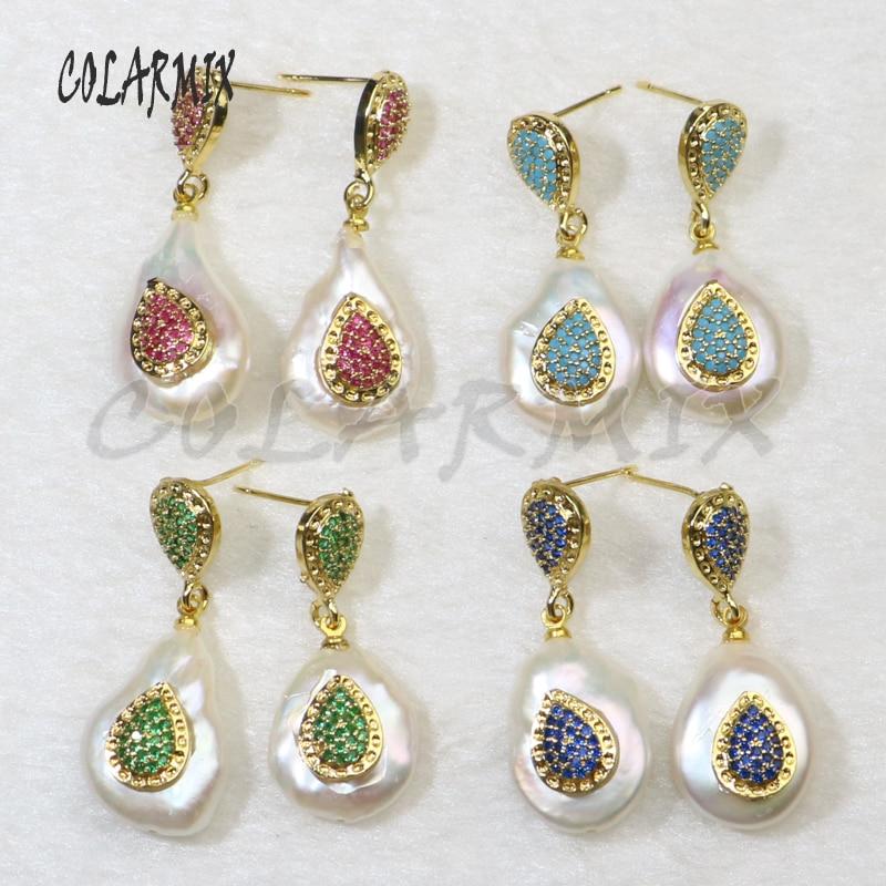 5 pares de brincos de pérola natural brinco de gota brincos de pérola brincos de mistura de cores charme jóias acessórios para mulher 6146