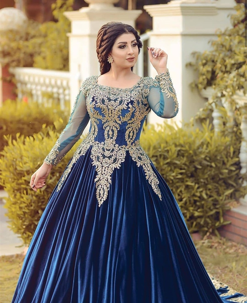 New Gorgeous Saudi Arabic Dubai Royal Blue Prom Party Dresses Long Sleeves Jewel Neck Wedding Guest Gowns Lace Appliqued Beaded