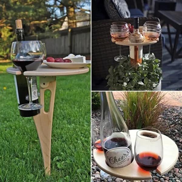 في الهواء الطلق المحمولة النبيذ الجدول حامل خشبي نزهة الجدول أنيق صغير نزهة الجدول للحزب في الهواء الطلق J99Store