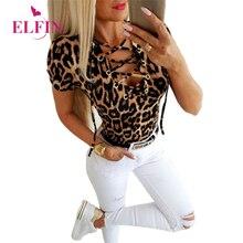 Women Clothing Summer Sexy Leopard Printed Cross Bandage O-Neck Short Sleeve T-Shirt Femme Casual Slim European Tops Tee SJ5825R