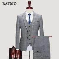batmo 2021 new arrival spring plaid casual suits menmens wedding dressjacketspantsvestsjt801