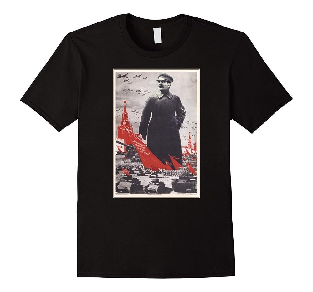 Joseph Stalin Vintage zsrr Retro radziecki plakat Tee 2020 nowa markowa odzież męska fajne topy z okrągłym dekoltem Neon t-shirty