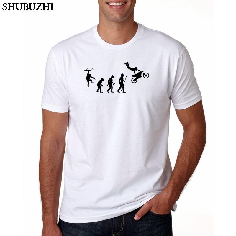 Fashion Human Dirtbike Evolution Funny T shirts men Super Motorcycle Car Race custom print Tshirt Father's gift  Hip hop Tees